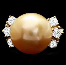 14K YELLOW GOLD 14 X 14MM PEARL 0.80CT DIAMOND RING