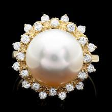 14K YELLOW GOLD 12 X 12MM PEARL 0.70CT DIAMOND RING