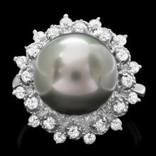 14K WHITE GOLD 12 X 12MM PEARL 0.60CT DIAMOND RING