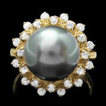 14K YELLOW GOLD 12 X 12MM PEARL 0.80CT DIAMOND RING