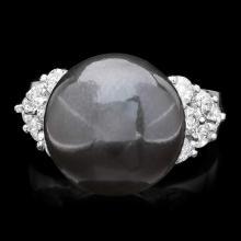 14K WHITE GOLD 13 X 13MM PEARL 0.85CT DIAMOND RING