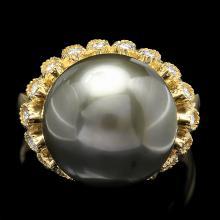 14K YELLOW GOLD 14 X 14MM PEARL 0.64CT DIAMOND RING