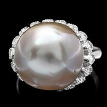 14K WHITE GOLD 14 X 14MM PEARL 0.70CT DIAMOND RING