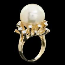 14K YELLOW GOLD 16 X 16MM PEARL 0.80CT DIAMOND RING