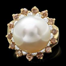 14K YELLOW GOLD 13MM PEARL 1.6CT DIAMOND RING