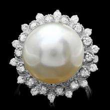 14K WHITE GOLD 14 X 14MM PEARL 0.60CT DIAMOND RING