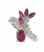 A ring with rubies and diamonds