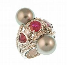 Black Pearls and Rubies Ring