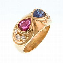 Gold Ruby and Sapphire Ring