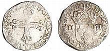 Louis XIII (1610-1643) - ¼ d'écu à la croix fleurdelisée, avers côté croix - 1613 9 (Rennes)