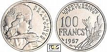 Quatrième république (1947-1959) - 100 francs Cochet 1957