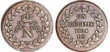 Napoléon 1er (1804-1814) - Un décime Napoléon 1er Blocus de Strasbourg 1814 BB