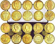 Troisième république (1871-1940) - Coffret du concours de la 100 francs or 1929 - 10 monnaies des 10 graveurs
