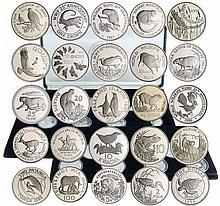 Monde - Coffret de 25 monnaies pour de 25ème anniversaire du World Wildlife Fund - 1986 /1987