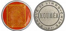 Nouvelle-Calédonie - Monnaie timbre - 50 ctes Banque de l'Indo-chine Nouméa nd (1922)