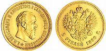 Russie - Alexandre III (1881-1894) - 5 roubles 1890 A? (Saint-Pétersbourg)