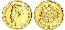Russie - Nicolas II (1894-1917) - 5 roubles 1902 A? (Saint-Pétersbourg)