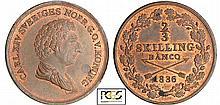 Suède - Charles XIV Bernadotte (1818-1844) - 2/3 de skilling banco 1836 (Stockholm)