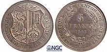Suisse - Canton de Genève - 5 francs 1848