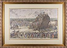 J.V. SCHLEY (1715-1779). VIEW OF THE THUNDER STONE DURING ITS TRANSPORTATION IN THE PRESENCE OF RUSSIAN TSARINE CATHERINE II ON JANUARY 20TH, 1770.