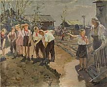 Mikhail VOLODIN (1912-1987).  RUSSIAN PAINTER. PIONEERS DIG THIER OLD TEACHER'S GARDEN.