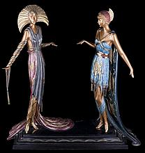 ERTÉ. A BRONZE ART DECO GROUP OF TWO VAMPS.