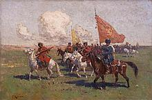Franz ROUBAUD (1856-1928).  RUSSIAN PAINTER.  CAVALRY TROOP WITH MUSICIANS.