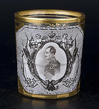 A  RUSSIAN GLASS BEAKER WITH THE IMAGE OF CROWN PRINCE ALEXANDER NIKOLAYEVICH.
