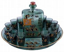 A  RUSSIAN GLASS WINE SET FOR 12 PERSONS. Elisaveta  BEM (1843-1914).