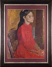 Fyodor RESHETNIKOV (1906-1988).  RUSSIAN PAINTER. PORTRAIT OF A GIRL IN A RED DRESS.
