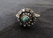 SOVIET UNION Russian Era Ring Cz, Sterling and Blue Stone