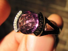 Modern Amethyst, Marcasite and Sterling Silver Ring