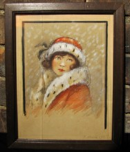 Signed E. HALLECK Snow Beauty Ink and Pastel Painting circa 1910