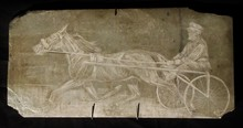 Horse Harness Racing ROCK ART by E. RICE done on Stone