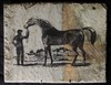 Rock Art Horse w/ Trainer / Jockey signed Grobe 72'