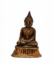 A Small Statue of Sitting Buddha on Triangular Lotus Pedestal