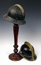 Two Vintage Fire Helmets