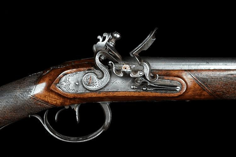 A Double-barrelled Flintlock Shotgun