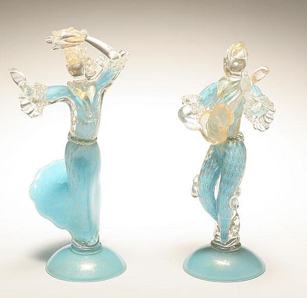 Barbini Murano art glass dancer and musician figures.