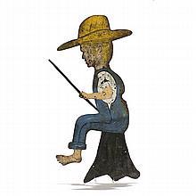 American sheet iron folk art fishing boy;