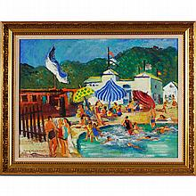 Georgiabelle Clark, (Indianapolis/Ohio; b.1907), poolside resort scene, oil on board, 18