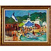 Georgiabelle Clark, (Indianapolis/Ohio; b.1907), poolside resort scene, oil on board, 18