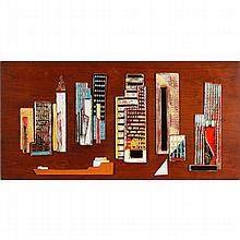 Harris Strong, (20th Century), modern cityscape tile assemblage, multi colored glazed ceramic plaques mounted on teak panel, 33