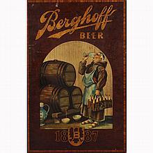 Breweriana; Berghoff Beer 1887 wood panel sign, bar advertising;