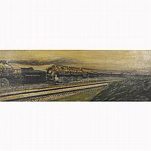 New York Central Railroad train painting oil on canvas;