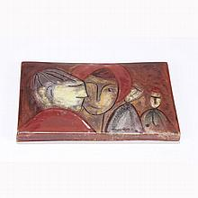 European glazed art pottery tile plaque, Werkstatte.