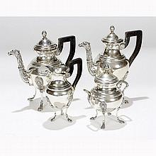 French Empire second standard 800 silver four piece tea set, late 19th / early 20th Century.