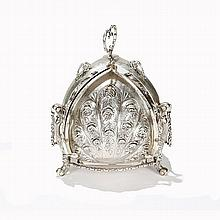German 19th Century 800 silver tri fold bun warmer with hand chased fine repousse rose floral motif.