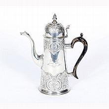 English sterling silver coffee pot, Edward Barnard, London 1893;