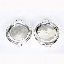 Two Sheffield silverplate warmer plates, one by Matthew Boulton.
